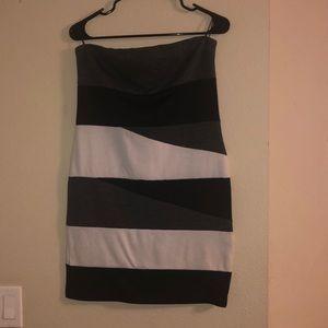 White black and grey mini dress